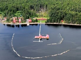 Aerial view of QCL luxury fishing lodge in Naden Harbour