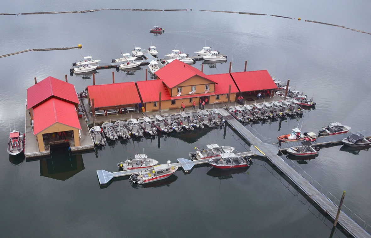 Canada Fishing Trip aerial view of Queen Charlotte Lodge and harbour