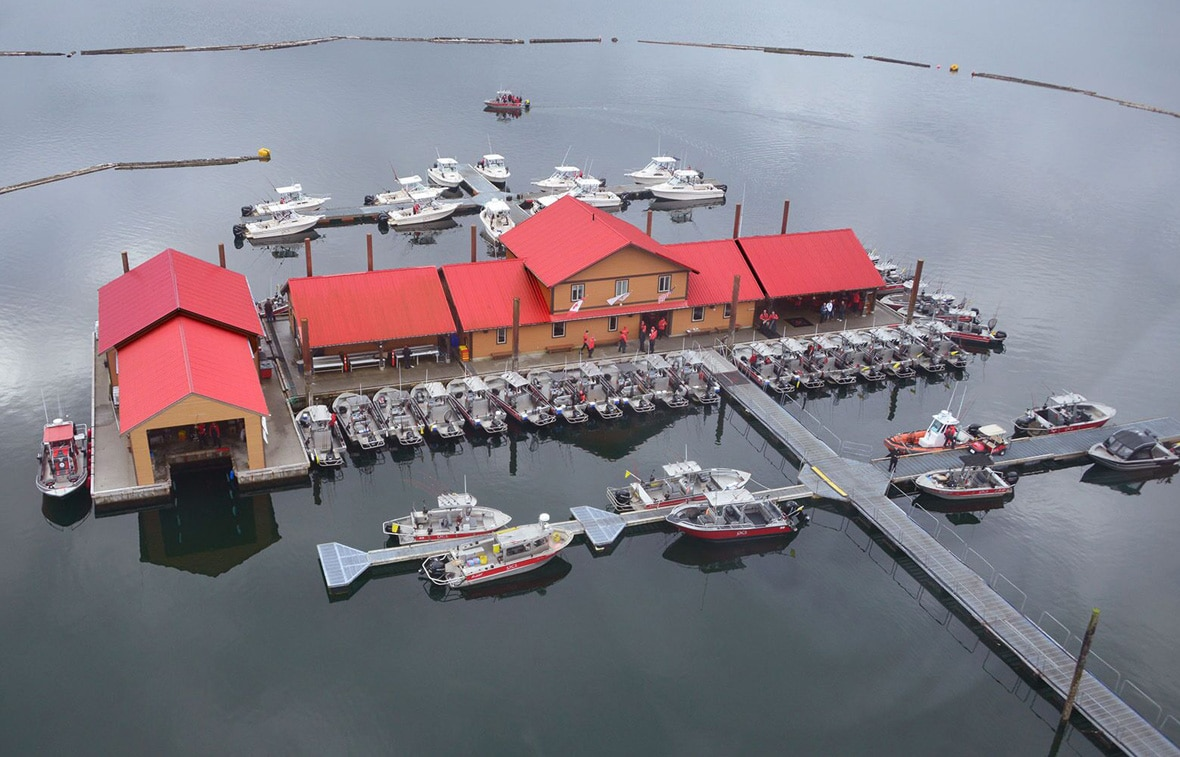 Aerial view of QCL marina for fly in fishing trips in Canada