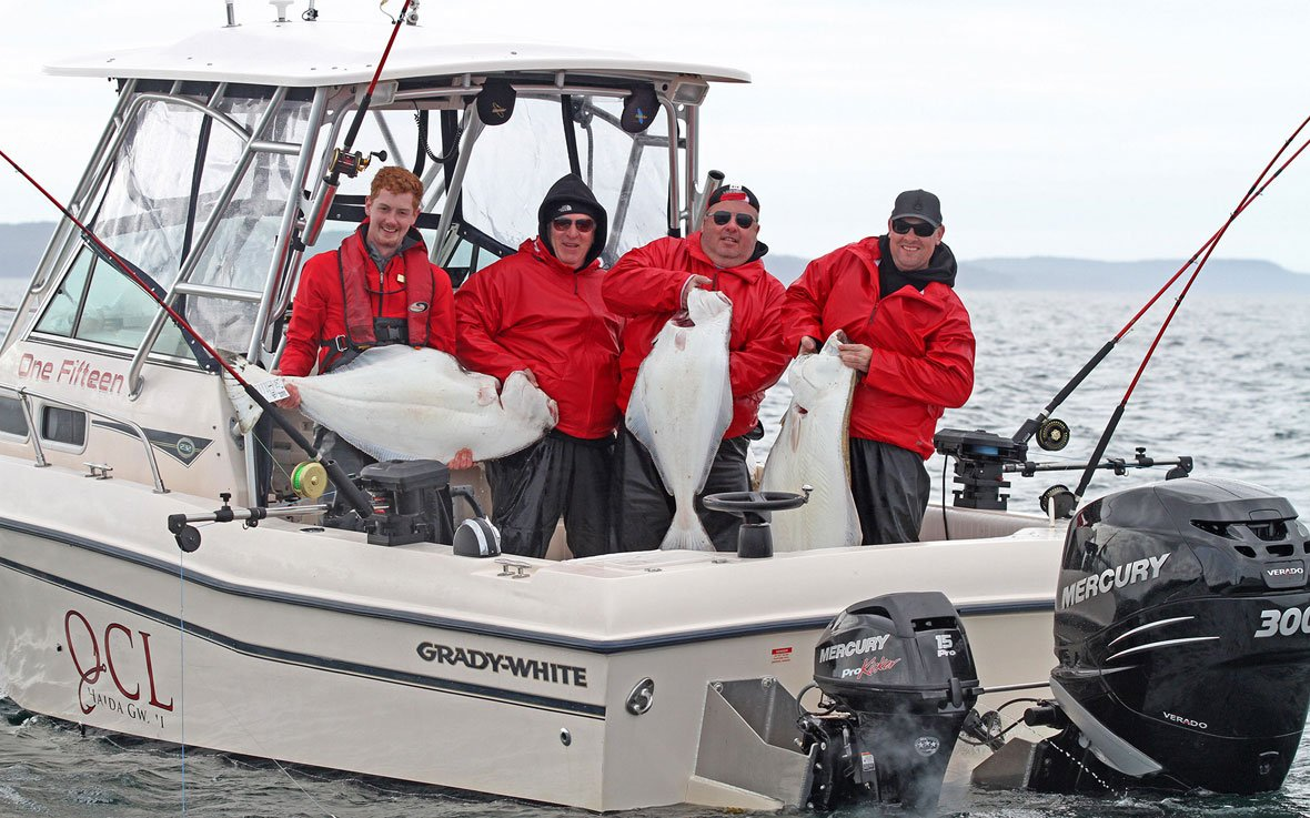 Self-guided halibut fishing BC on Grady White boat