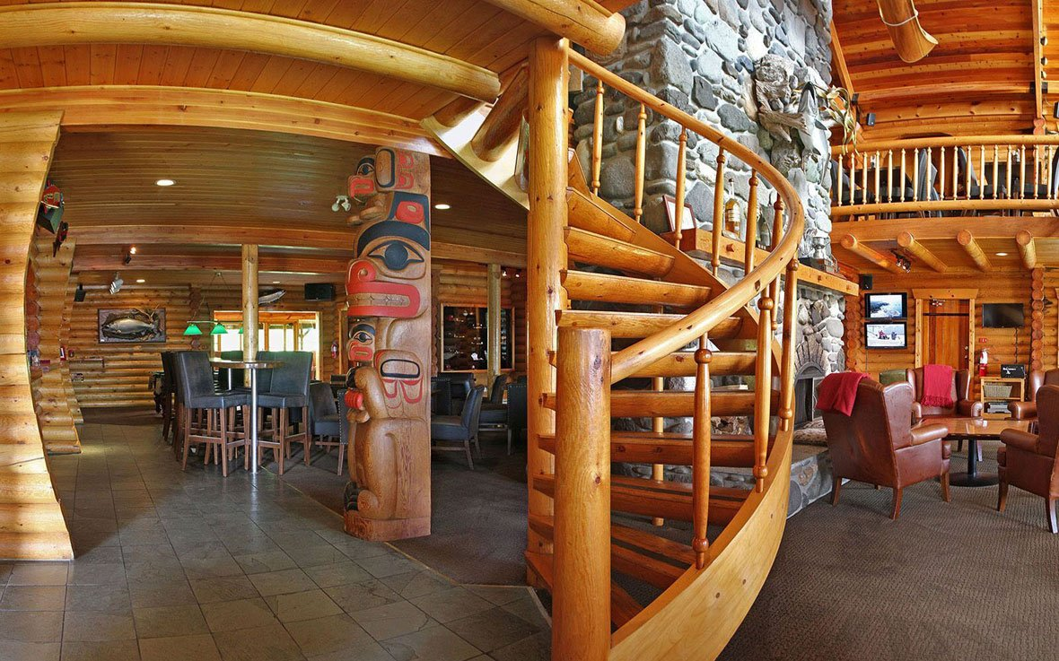 Wilderness main lodge staircase and totem pole