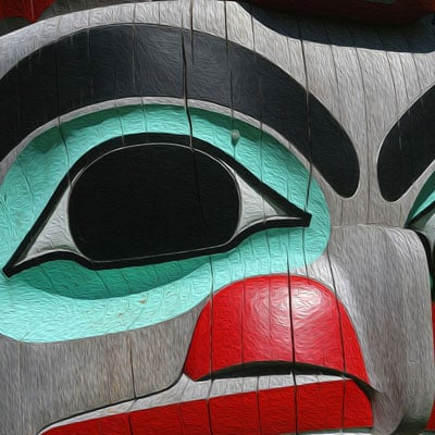 Haida Gwaii totem pole on the main grounds