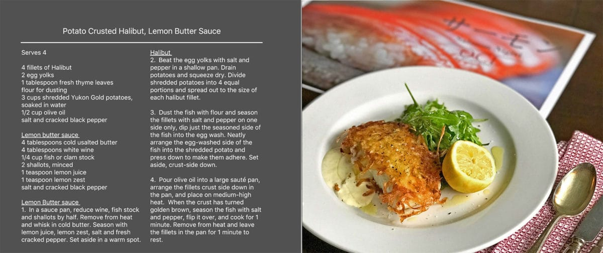 Potato Crusted Halibut -Lemon Butter Sauce